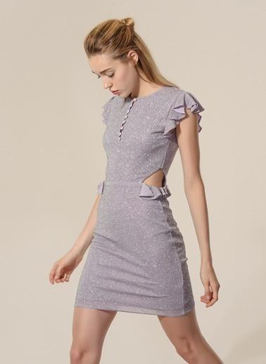 Agenda Bel Detaylı Elbise Lila